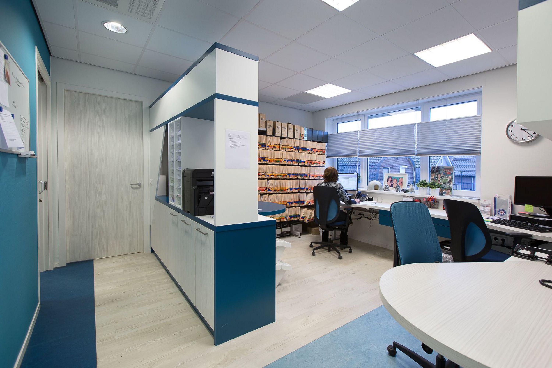 Interieurontwerp backoffice gezondheidscentrum Zuiderzorg Ede huisartsenpraktijk