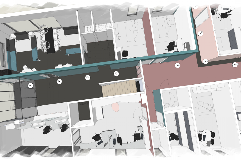 Interieurontwerp plattegrond huisartsenpraktijk